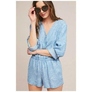 Anthropologie Cloth & Stone Chambray Blue Floral